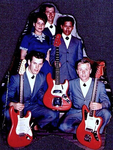 band nameThe Hawaiian Shadows  Rick Stock, Sandy Windham, Roy Jones, Jet Kanani and Lee Henriksen, 1963/4