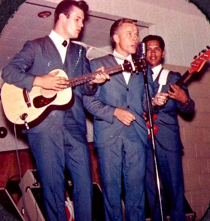 <font size=3><font color=red><font size=3>band name<br><font color=white>The Hawaiian Shadows<br> <br><font size=2><font color=white> Rick Stock, Lee Henriksen and Jet Kanani, 1963/4