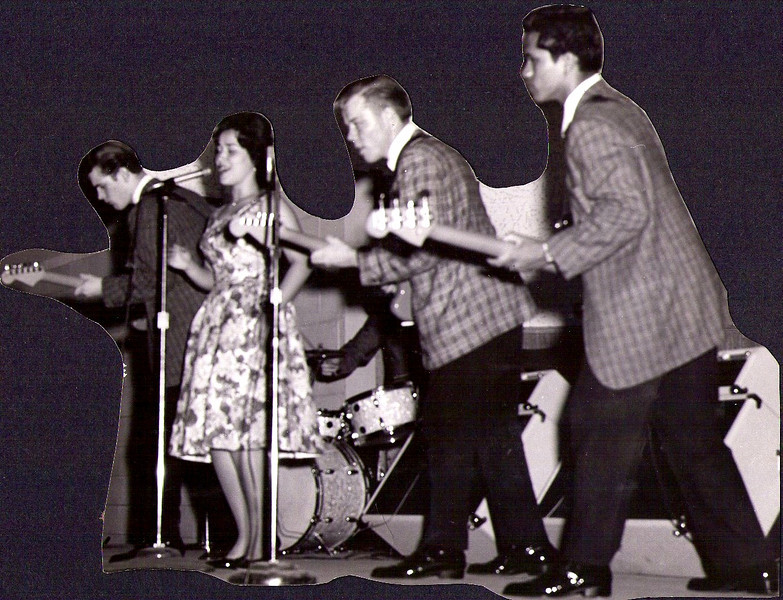 <font size=3><font color=white><font color=red><font size=3>band name<br><font color=white>The Hawaiian Shadows<br> <br><font size=2> Rick Stock, Sandy Windham, Lee Henriksen and Jet Kanani, 1962/3