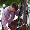 Zeb Hargis plays a bass solo with the Bicentennial Bluegrass All-Star Band as bicentennial celebrations continued at Central Park in Henderson.  (Photo by Greg Eans)
