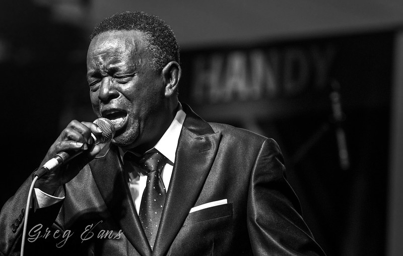 Charles Walker performs with The Dynamites at the W. C. Handy Blues and Barbecue Festival Saturday afternoon in Henderson.  (Photo by Greg Eans)