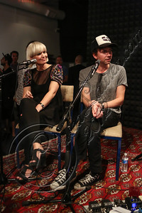 LOS ANGELES, CA - OCTOBER 09:  Musicians Sharin Foo (L) and Sune Rose Wagner of The Raveonettes perform at Sonos Studio on October 9, 2012 in Los Angeles, California.  (Photo by Chelsea Lauren/WireImage)