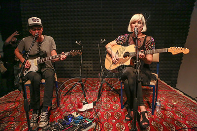 LOS ANGELES, CA - OCTOBER 09:  Musicians Sune Rose Wagner (L) and Sharin Foo of The Raveonettes perform at Sonos Studio on October 9, 2012 in Los Angeles, California.  (Photo by Chelsea Lauren/WireImage)