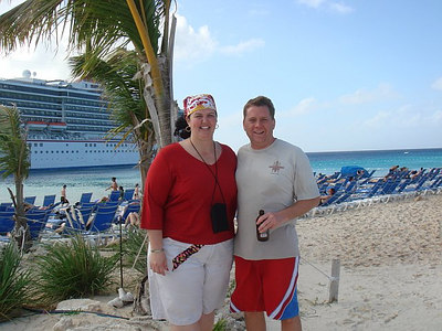 Kathy and Bryan on the beach at Grand Turk.