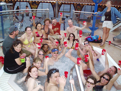 How many people can fit it one hot tub.  Notice a Josh Kelley band member joining in the festivities, as well as some girls from Lawrence and KC.  No Dora the Explorer though.