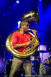 """Damon """"Tuba Gooding Jr."""" Bryson of The Roots performs at The Citrus Bowl in Orlando, Florida during Orlando Calling on November 12, 2011"""