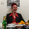 George Laughing in the face of fruit