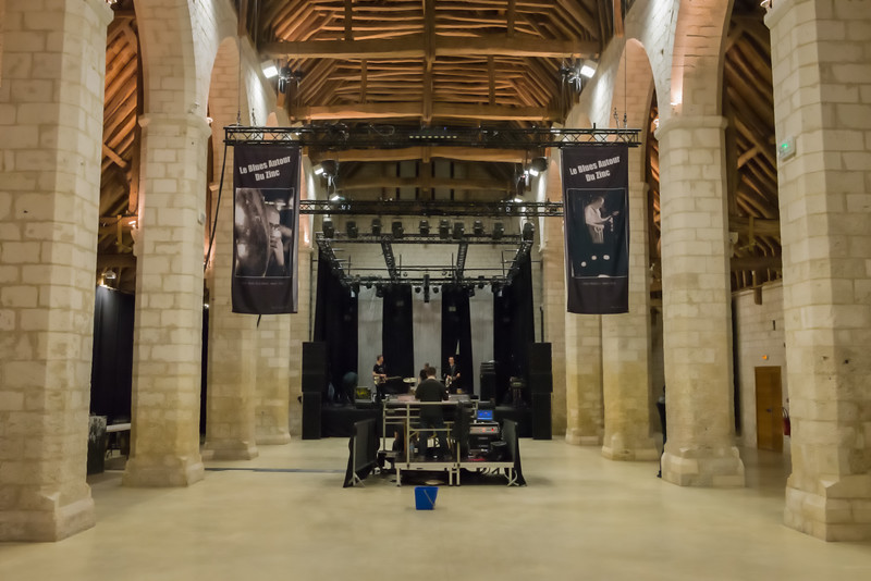 Powersolo soundchecking in a near deserted Maladrerie Saint Lazare some 3 hours before the doors open.  <br /> <br /> The wooden Frame of theis old barn dates back to 1219-1220
