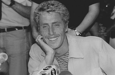 WHO_lp_1039  Lead singer of the British rock band The Who, Roger Daltrey smiles as he takes questions at a New York City press conference to announce The Who's 1982 North American Tour.