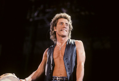 Roger Daltrey, lead singer performs live with The Who  in concert 1989