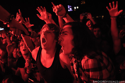 Two fans sing along with The Word Alive during their performance on November 26, 2010 at The Ritz in Ybor City, Tampa, Florida