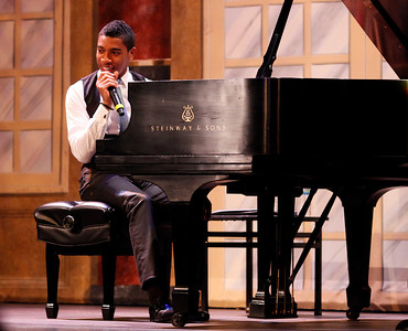 Christian Sands chats with the audience during his performance in the Civic Auditorium as part of the Irving S. Gilmore International Keyboard Festival in Kalamazoo, Mich. on April 30, 2012. (Bradley S. Pines / CONTACT: bspines@gmail.com)