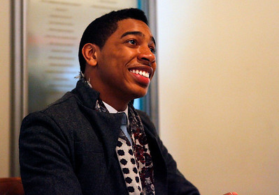 Christian Sands smiles after signing CDs after his performance in the Civic Auditorium as part of the Irving S. Gilmore International Keyboard Festival in Kalamazoo, Mich. on April 30, 2012. (Bradley S. Pines / CONTACT: bspines@gmail.com)