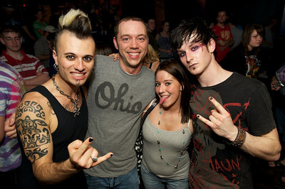 Sal Coz Costa and Reid Henry of My Darkest Days pose with fans Matt and Heather Armstrong at Bogart's on Sunday