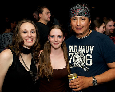 Veronica and Erica from West Virginia and Javier from Mexico City at Bogart's on Sunday for Three Days Grace