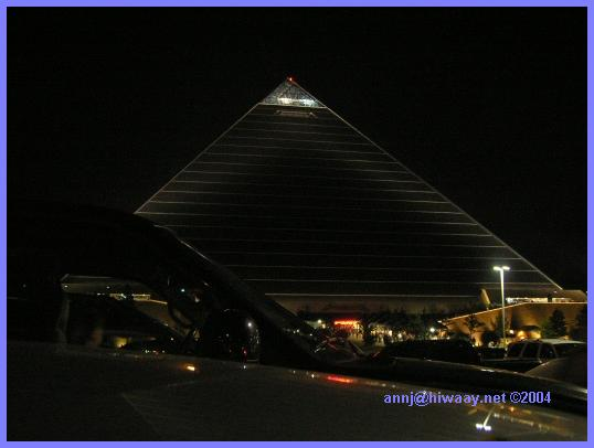 The Pyramid Arena all lit up at night
