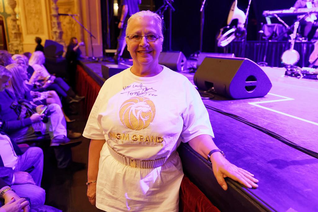 . Longtime fan, Helene LePage from Montreal ot Tom Jones\' show at Detroit Opera House.