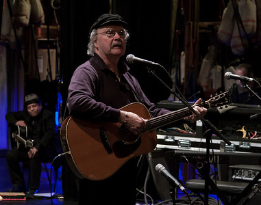 Tom Paxton at sound check, Music Hall, Tarrytown, NY with Garland Jeffreys waiting his turn.