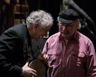 Tom Paxton sharing a laugh with David Amram, Music Hall, Tarrytown, NY.
