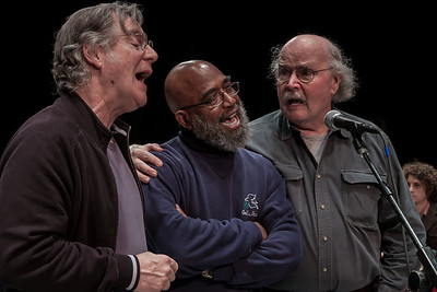 John Sebastian, Josh White Jr., Tom Paxton and Adam Amram at the rehearsal for the finale at Symphony Space, NYC.