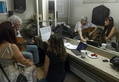 Tom Rush, Maura Kennedy and Lucy Kaplansky rehearsing in the green room at Traaytown Music Hall, Tarrytown, NY on 6/18/16.
