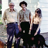 "Tommy Jarrell, in his backyard in Toast, North Carolina <br /> in September of 1980. Standing with him is Stefan Senders, <br /> Nancy Dols, and Tommy's dog ""Boliver"""