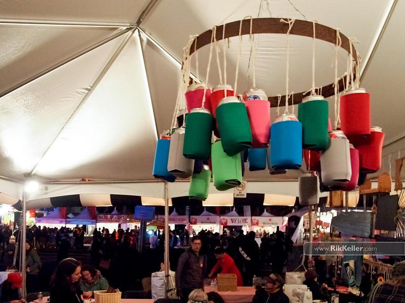 Beer koozie chandelier