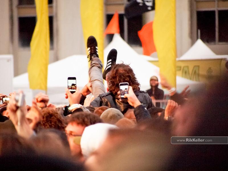 Kevin Drew of Broken Social Scene enjoys a relaxing crowd surf