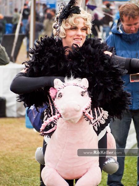 Unicorn riding a pony