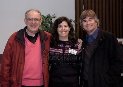 Trevor Wye, GPFS President Phyllis Louke, and Clifford Benson