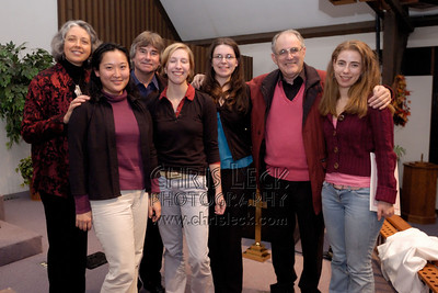 Dr. Nancy Andrew and students pose with Trevor Wye and Clifford Benson.