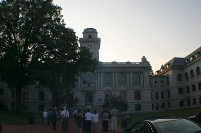 Mahan Hall at dusk.