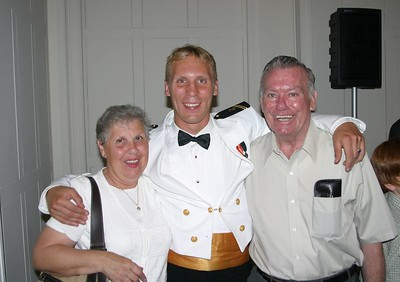 Midn. Brant DeBoer with his grandparents.