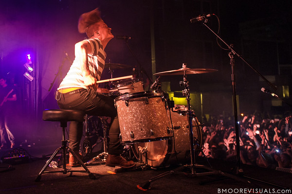 Aaron Gillespie, former drummer for Underoath, performs during their final show on January 26, 2013 at Jannus Live in St. Petersburg, Florida