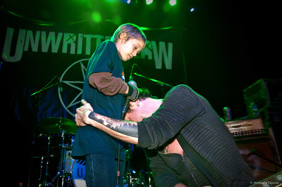 Scott Russo embraces son Trey Unwritten Law Summit Music Hall Denver, CO April 20, 2011