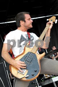 Aug 23, 2009-Carson, California, USA-Musician, ED BRECKENRIDGE, bassist for the band THRICE, on stage, Vans Warped Tour 2009, Home Depot Center, Carson, California.  (credit image;  cr  Scott Mitchell/ZUMA Press)