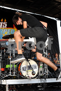 Aug 23, 2009-Carson, California, USA-Musician, JACK BARAKAT, guitar player for the band ALL TIME LOW, on stage at the Vans Warped Tour 2009, at the Home Depot, Carson, California.   (Credit Image:  cr  Scott Mitchell/ZUMA Press)