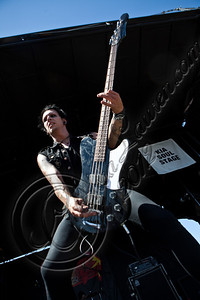 LAS VEGAS, NV - JUNE 20:  Bassist Adam Vex of Vampires Everywhere! performs at the 2012 Vans Warped Tour the Luxor Hotel on June 20, 2012 in Las Vegas, Nevada.  (Photo by Chelsea Lauren/WireImage)