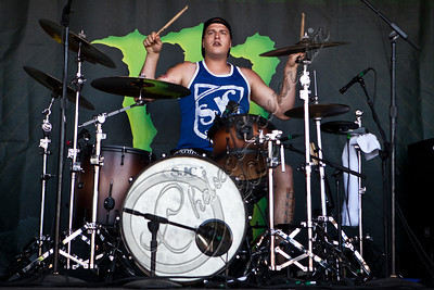 LAS VEGAS, NV - JUNE 20:  Drummer Andrew Tkaczyk of The Ghost Inside performs at the 2012 Vans Warped Tour the Luxor Hotel on June 20, 2012 in Las Vegas, Nevada.  (Photo by Chelsea Lauren/WireImage)