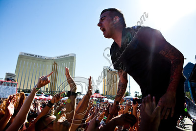LAS VEGAS, NV - JUNE 20:  Bassist Chris Barker of Anti-Flag performs at the 2012 Vans Warped Tour the Luxor Hotel on June 20, 2012 in Las Vegas, Nevada.  (Photo by Chelsea Lauren/WireImage)