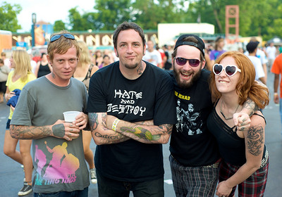 Moose from Louisville, Stu, Chris and Sara of Lexington, KY at Riverbend Music Center for the Warped Tour
