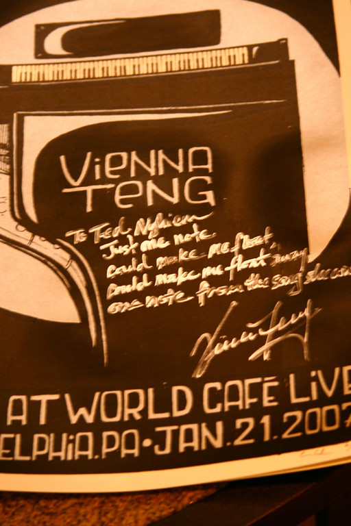 "A personalized lithograph poster from Vienna, says- ""Just one note, could make me float, could make me float away, one note from the song she wrote.""  ~ Vienna Teng.   I got that lyric from Aeroplane by the Red Hot Chili Peppers."