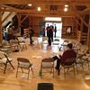 Inside the rehearsal barn