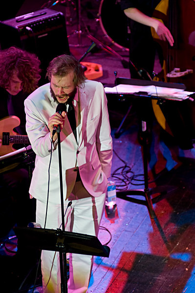 Bon Iver leader Justin Vernon with the Eau Claire Memorial High School Jazz Band