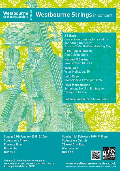 Westbourne Strings Concert Poster Jan Feb 2018
