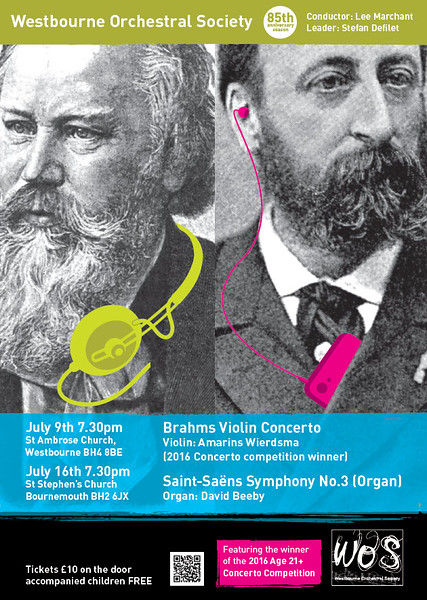 Westbourne Orchestra Poster for Concerts 9 and 16 July 2016