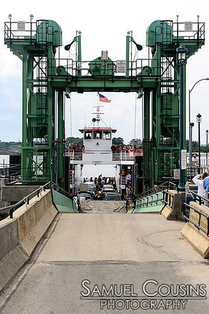 The What Cheer? Brigade, on the Casco Bay Lines car ferry, arriving at Peaks Island.