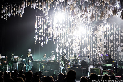 Nels Cline, Jeff Tweedy, Mikael Jorgensen, John Stirratt, Glenn Kotche, and Pat Sansone of Wilco performs on May 14, 2012 in support of The Whole Love at The Straz Performing Arts Center in Tampa, Florida