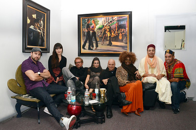 Freddy Clarke's Wobbly World at Loudville Recording Studio, Sausalito, CA. Recording and party. Oct. 26, 2012. MEMBERS -  - Fely Tchaco, Ivory Coast (3rd on right) 	French and Guoro Vocals  - Georges Lammam, Lebanon 	Arabic Vocals / Violin  - Erick Barberia, Cuba 	Bata / Yoruba and Spanish Vocals   - Echae Kang, Korea (2th on left)   Violin   - Vassil Bebelekov, Bulgaria 	Gaida   - Scott Thompson, US 	Bass   - David Tucker, US 	Drums   - Freddy Clarke, Menlo Park (4th on right) 	Guitar / Vocals