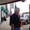 Frank Mitchell, KTUL weatherman, does his weather reports live from in front of the Crystal Theater in downtown Okemah. July 16, 2010.
